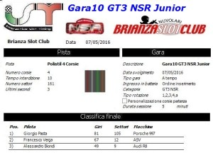 Gara10 GT3 NSR Junior 16