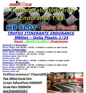 Programma Gara2 Trofeo Itinerante Endurance AVUS Gara2 BSN Slot- 2017