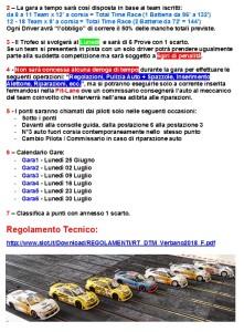 Regolamento Trofeo Estivo DTM Calibra 2.20188